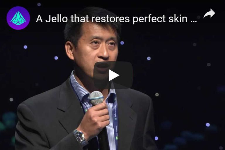 Sunogel CEO, Dr Guoming Sun, presenting at the 2017 Hello Tomorrow Global Challenge finals, Paris.